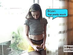 Skinny teen slut gets fucked out in a hotel by guy she met