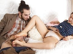 Ole Nina's feet covered with jizz
