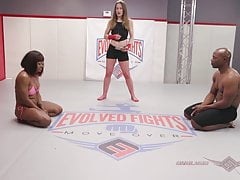 Muscular babe Kelli Provocateur Loses at Mixed Sex Wrestling