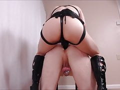 Dominatrix pegging chastity faggot