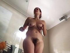 Hairy brunette hot wife morning shower