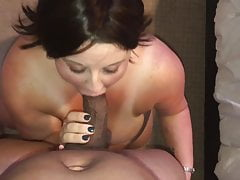 BBW on her knees sucking BBC