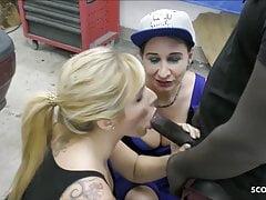 Huge Cock Black Seduce two MILF to Fuck in Garage FFM 3some