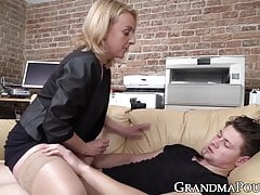 Classy granny in lustful oral session with much younger stud