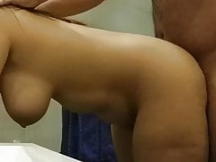 Chubby busty cheating arab wife gets fucked in the bathroom