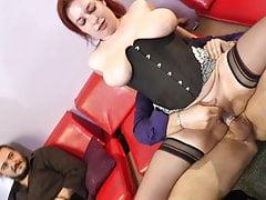 French Big Boobed Slut Has Black Stockings Threesome